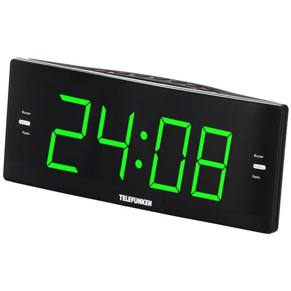 Радио-часы Telefunken TF-1587 Black/Green зеленого цвета