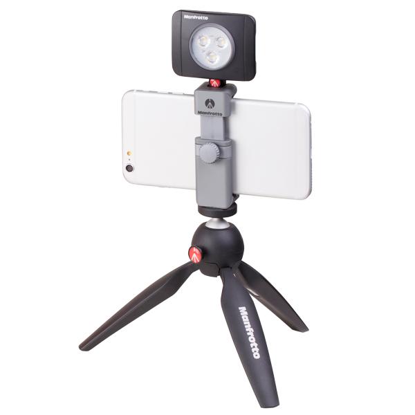 Manfrotto, Премиальный фотоаксессуар, Комплект: MTPIXI-B + MTWISTGRIP + MLUMIEPL-BK