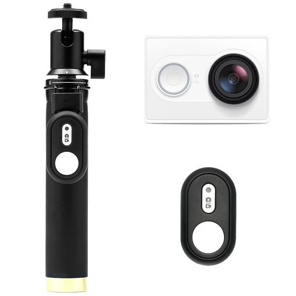 Видеокамера экшн Yi комплект с Bluetooth-моноподом белый