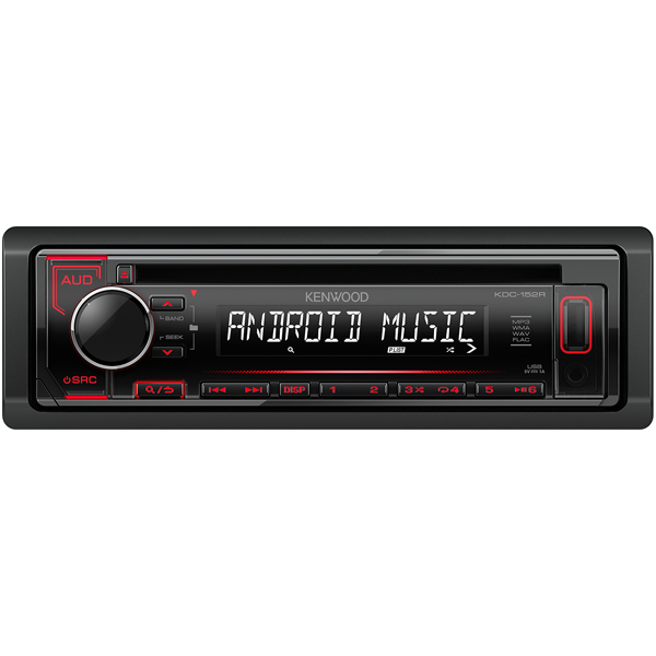 Автомобильная магнитола с CD MP3 Kenwood KDC-152R автомагнитола kenwood kmm 103gy usb mp3 fm 1din 4х50вт черный