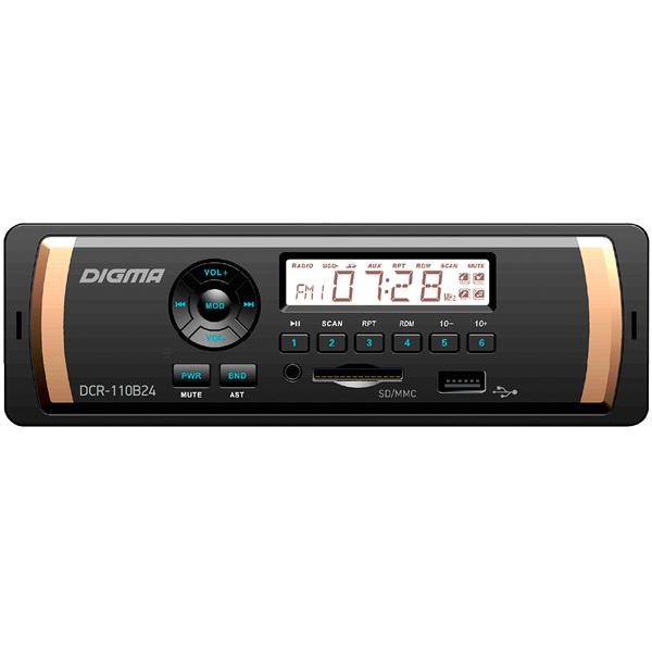 USB-Автомагнитола Digma DCR-110B24 автомагнитола digma dcr 110b24