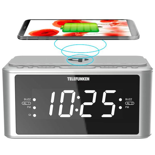 Радио-часы Telefunken TF-1595U Silver белого цвета