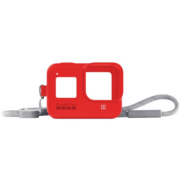 Силиконовый чехол с ремешком GoPro Sleeve + Lanyard HERO8 Red (AJSST-008) красного цвета