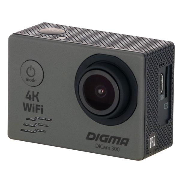 Видеокамера экшн Digma — DiCam 300 серая