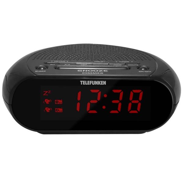 Радио-часы Telefunken TF-1706 Black/Red красного цвета