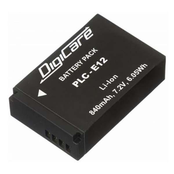 Аккумулятор для цифрового фотоаппарата DigiCare PLC-E12 черного цвета