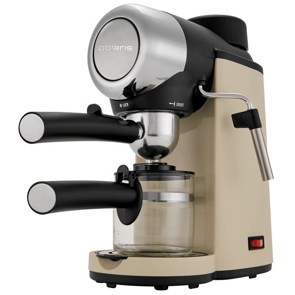 Кофеварка рожкового типа Polaris PCM 4005A бежевая кофеварка polaris pcm 0210 450 вт черный