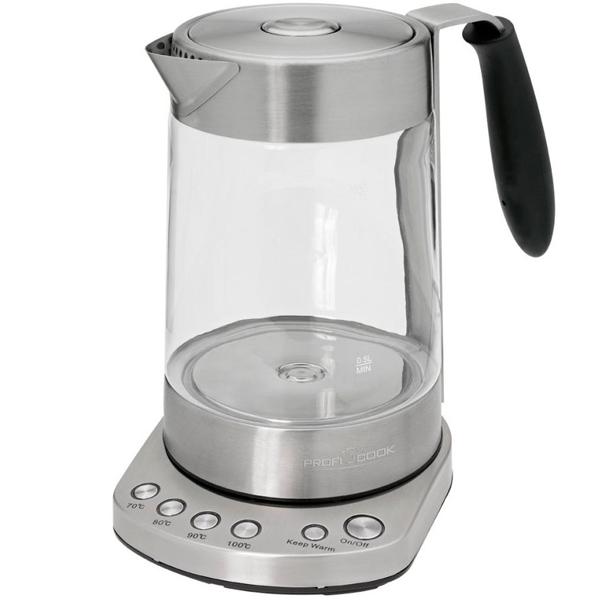 Электрочайник Profi Cook PC-WKS 1020 G (501020) чайник profi cook pc wks 1020 g 3000 вт 1 7 л металл стекло прозрачный
