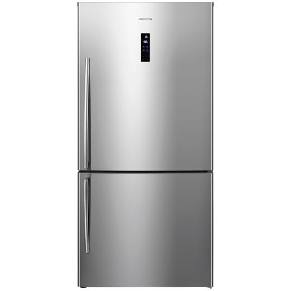 Холодильник с нижней морозильной камерой Широкий Hiberg RFC-60DX NFX