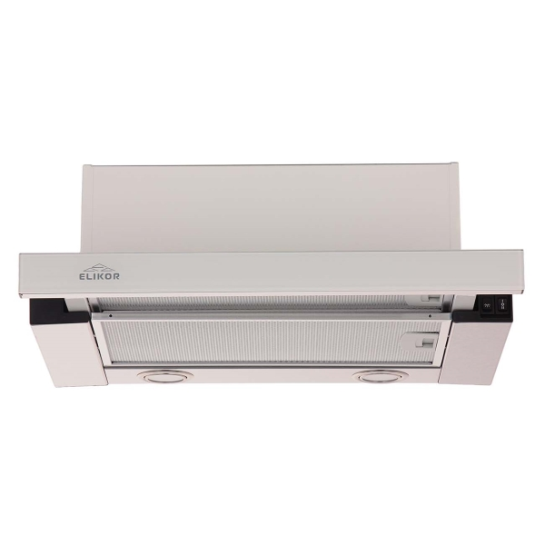 Вытяжка встраиваемая в шкаф 50 см Elikor Интегра GLASS 50 Inox/White Glass