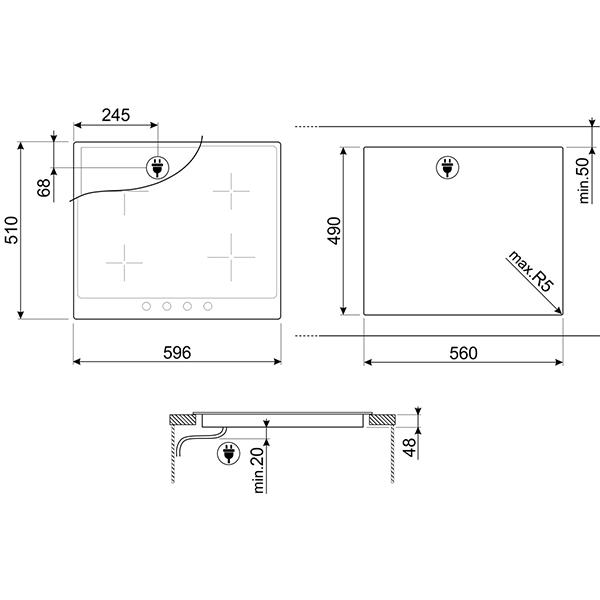 Встраиваемая электрическая панель SMEG
