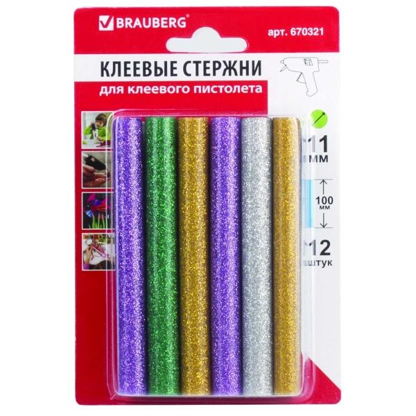Стержни для клеевых пистолетов Brauberg 11мм*100мм,цветные (блестки), 12шт(670321)