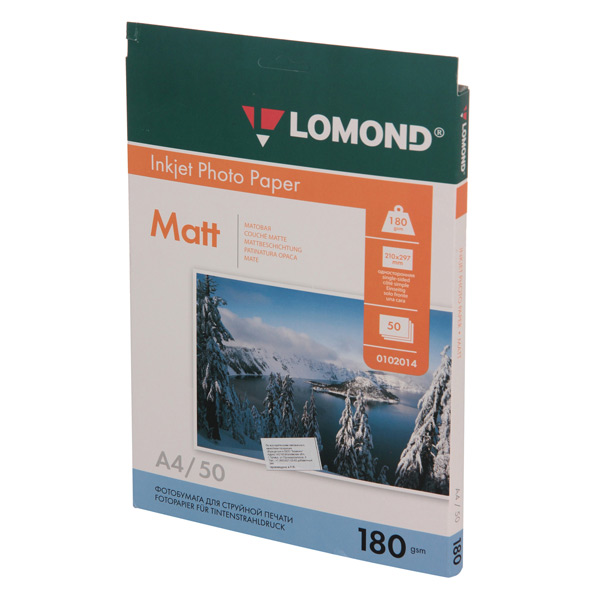 Фотобумага для принтера Lomond односторонняя матовая А4 180гр