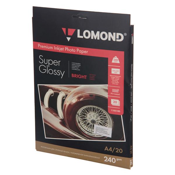 Фотобумага для принтера Lomond односторонняя супер глянцевая А4