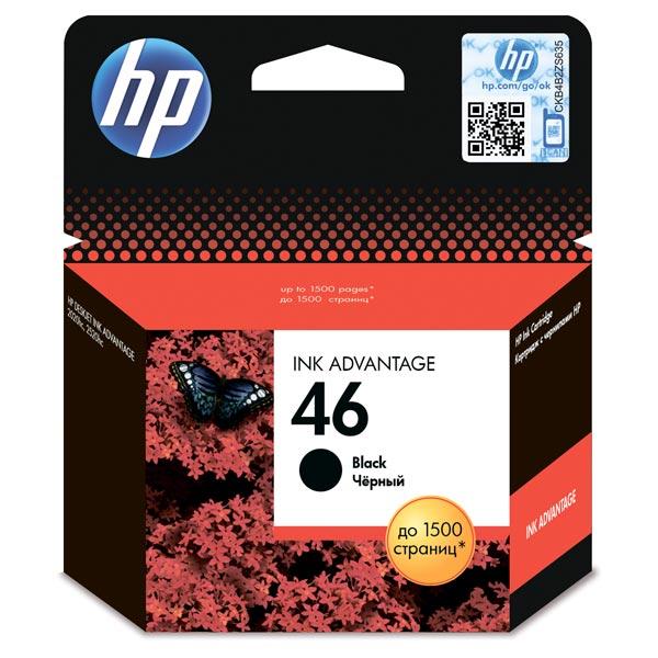 Картридж для струйного принтера HP 46 Black Ink CZ637AE картридж для принтера hp c9399a 72 69 ml magenta ink cartridge