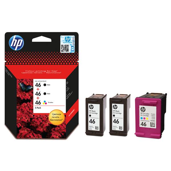 Картридж для струйного принтера HP F6T40AE 46 (2 черных + 1 цветной) repalce paper roller kit for hp laserjet laserjet p1005 6 7 8 m1212 3 4 6 p1102 m1132 6 rl1 1442 rl1 1442 000 rc2 1048 rm1 4006