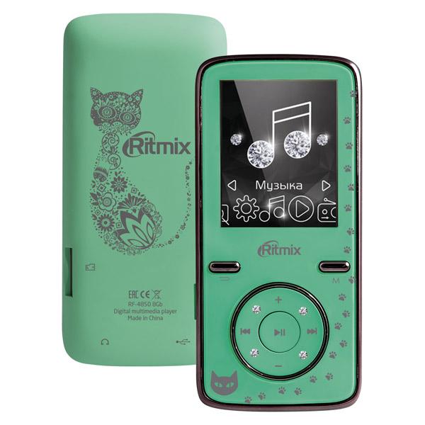 Портативный медиаплеер Ritmix RF-4850 8Gb Mint mp3 плеер ritmix rf 3450 16gb black