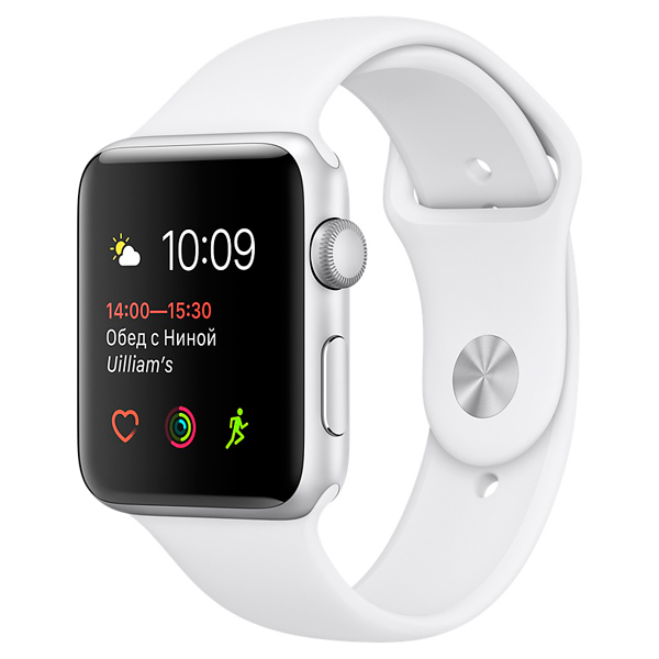 Apple, Смарт-часы, Watch S1 Sport 42mm Silver Al/White (MNNL2RU/A)