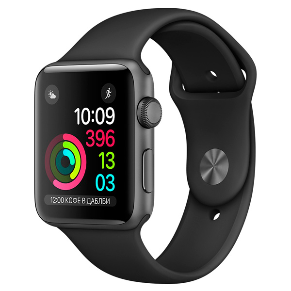 Apple, Смарт-часы, Watch S1 Sport 42mm Sp.Grey Al/Black (MP032RU/A)
