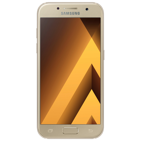 Смартфон Samsung Galaxy A3 (2017) Gold (SM-A320F) аксессуар защитное стекло samsung galaxy a3 2017 sm a320f a3200 ainy full screen cover 0 33mm gold
