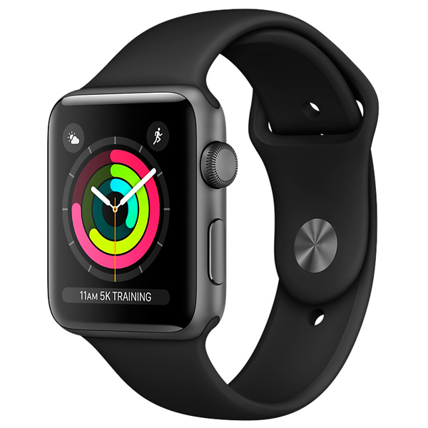 Apple, Смарт-часы, Watch S3 Sport 38mm Space Gr Al/Bl Band MQKV2RU/A