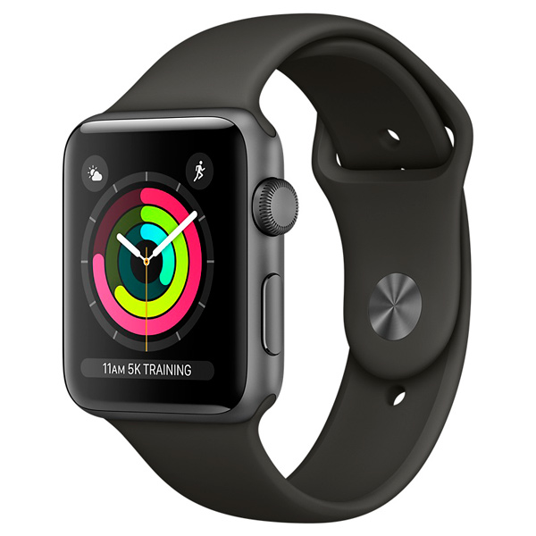 Apple, Смарт-часы, Watch S3 Sport 38mm Space Gr Al/Gr Band MR352RU/A