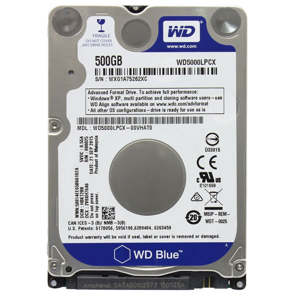 Жесткий диск WD 500GB Blue Mobile (WD5000LPCX)