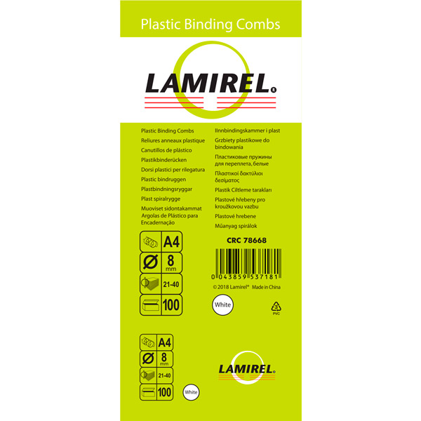 Пружина для переплета Lamirel 8мм белая (CRC78668)