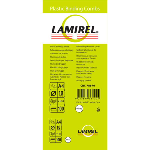 Пружина для переплета Lamirel 10мм белая (CRC78670)