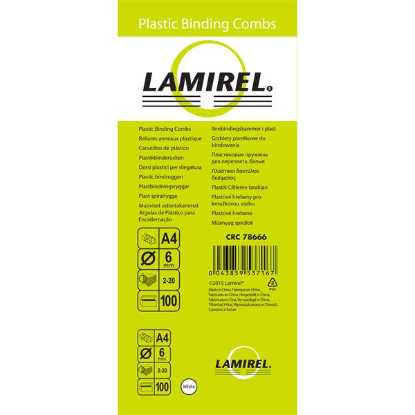 Пружина для переплета Lamirel пластиковая 6 мм. белая, 100 шт.