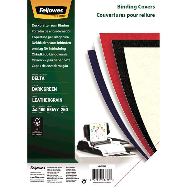 Обложка для переплета Fellowes Delta A4 темно-зеленая, 100 шт. тиснение под кожу