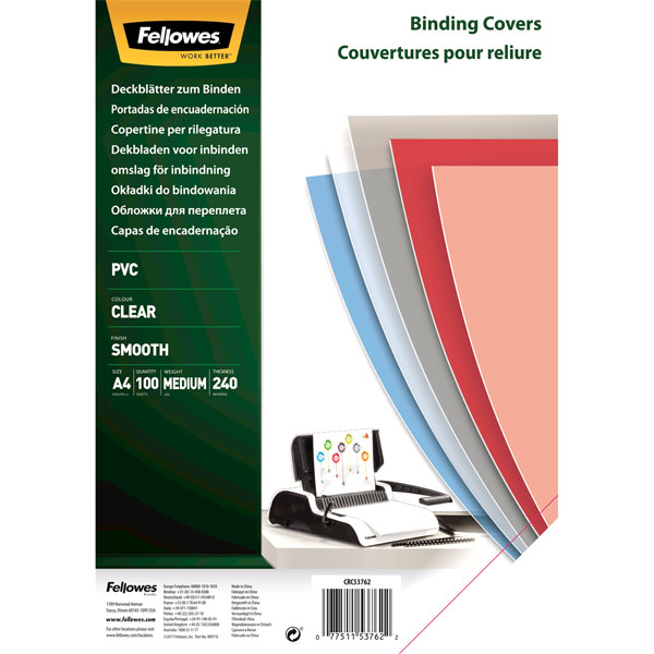 Обложка для переплета Fellowes Transparent A4 240 мкм, 100 шт. прозрачная PVC