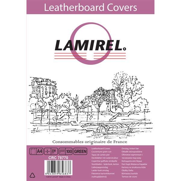Обложка для переплета Lamirel Delta A4,картонная,тисн.под кожу,зеленая, 100 шт.