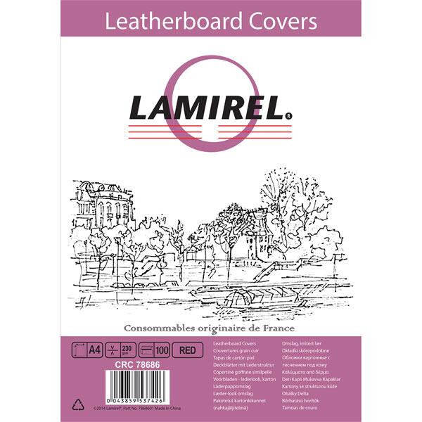 Обложка для переплета Lamirel Delta A4,картонная,тисн.под кожу,красная, 100 шт.