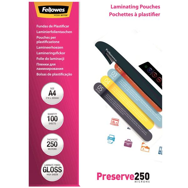 Плёнка для ламинирования Fellowes А4 250 мкм, 100 шт.