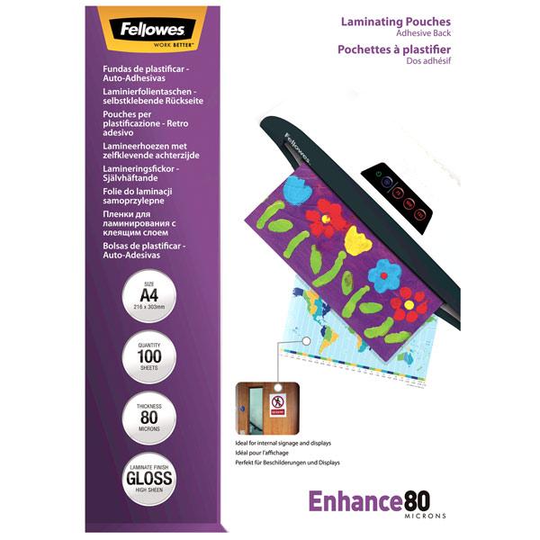 Плёнка для ламинирования Fellowes с клеевым слоем А4 80мкм, 100 шт.