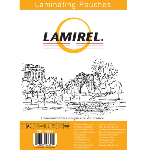 Плёнка для ламинирования Lamirel А3, 125мкм, 100 шт.