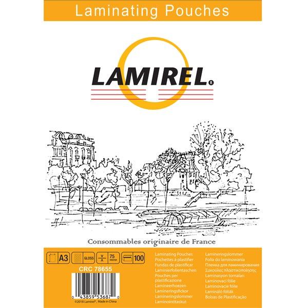 Плёнка для ламинирования Lamirel А3, 75мкм, 100 шт.