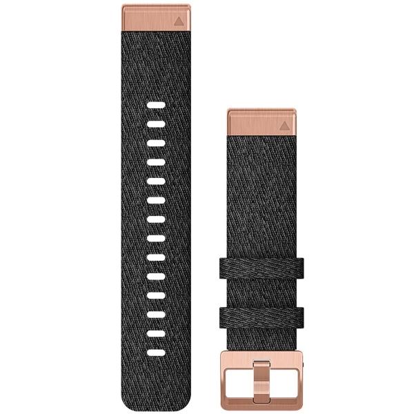 Сменный ремешок для носимого устройства Garmin QuickFit 20 Heathered Black/Gold (010-12874-00)