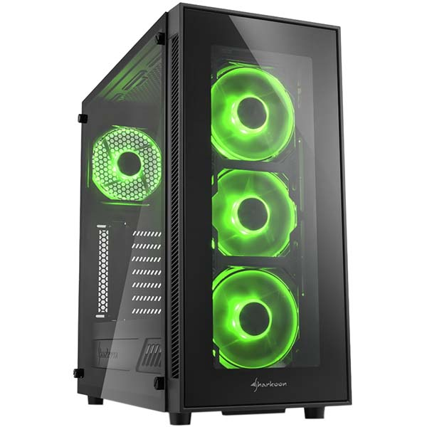 Корпус для компьютера Sharkoon TG5 green led SHARKOON