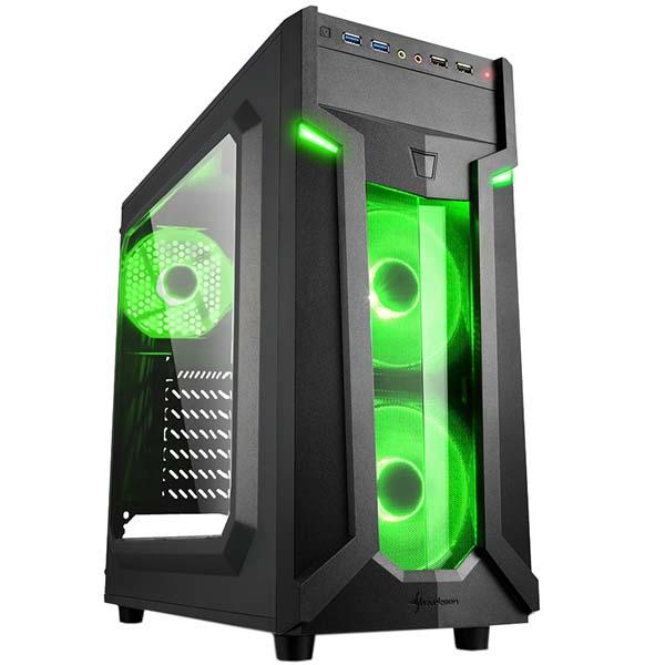 Корпус для компьютера Sharkoon VG6-W green led SHARKOON