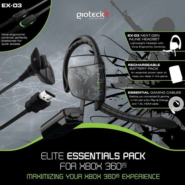 Гарнитура для игровой приставки Xbox360 Gioteck Elite Essentials Pack (ELPXB3-11-M0)