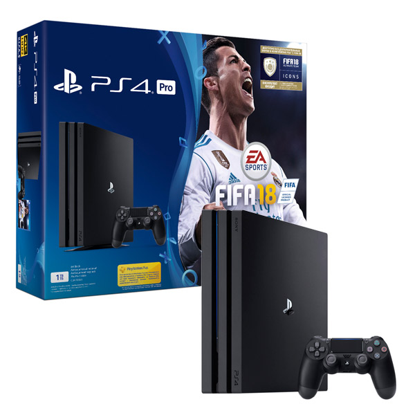 Игровая консоль PlayStation 4 Pro 1Tb + FIFA 18 + PS Plus 14 дней (CUH-7008B) приставка sony playstation 4 1tb fifa 18 ps plus 14 дней cuh 2108b