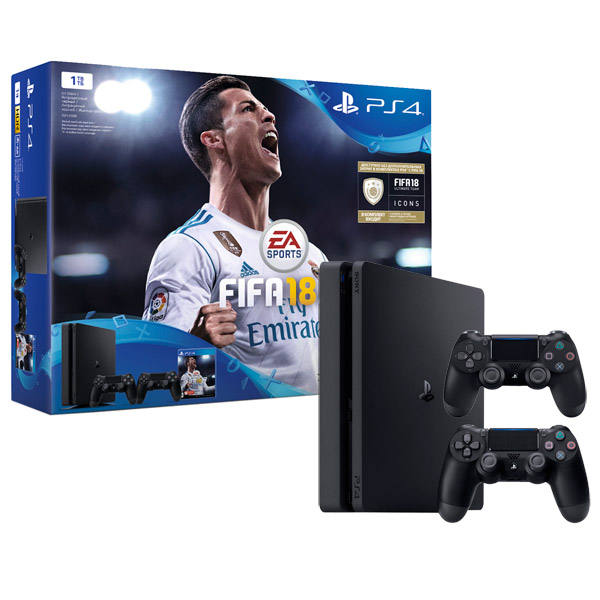 Игровая консоль PlayStation 4 1Tb FIFA 18 + 2 геймпада+PS Plus 14д. (CUH-2108B) приставка sony playstation 4 1tb fifa 18 ps plus 14 дней cuh 2108b