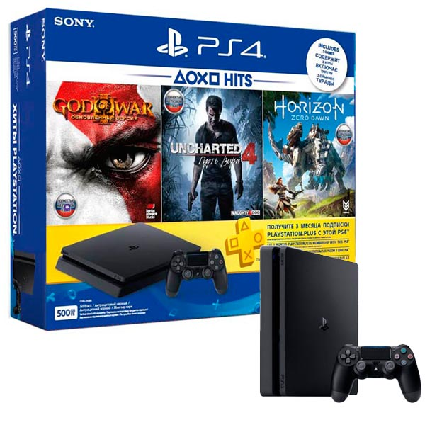 Игровая консоль PlayStation 4 500GB + Horizon:ZeroDawn+GoW 3+UC 4+3мес PS Plus игровая приставка playstation 4 хиты playstation в комплекте с тремя играми horizon zero dawn god of war 3 uncharted 4 и подпиской playstation plus 90д