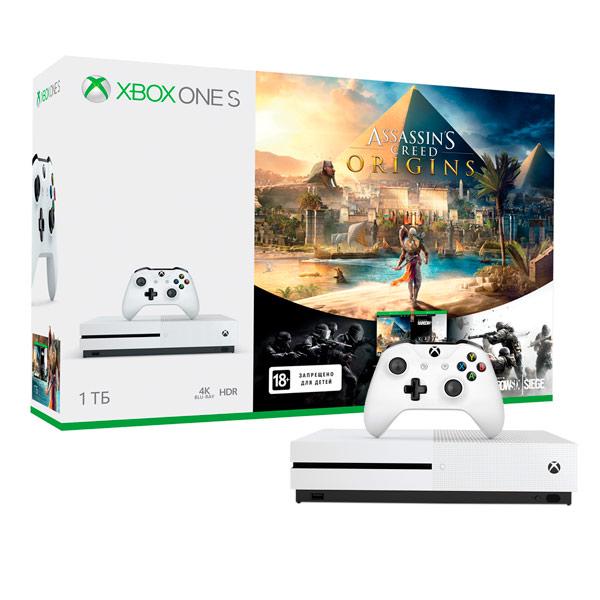 Игровая консоль Xbox One Microsoft S 1TB+Assassins Creed Origins+TC RainbowSix Siege microsoft xbox one 1 тб rainbow six siege без подписки xbox live