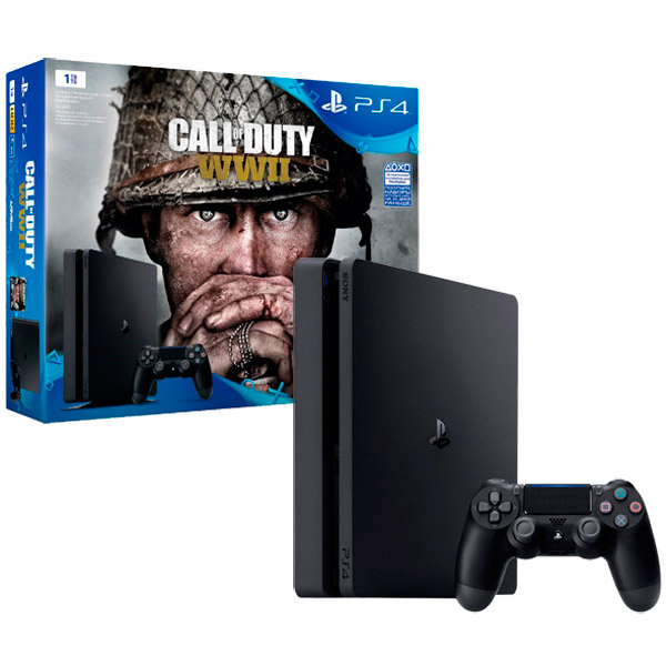 Игровая консоль PlayStation 4 1TB Call of Duty:WW II (CUH-2108B) игровая приставка playstation 4 хиты playstation в комплекте с тремя играми horizon zero dawn god of war 3 uncharted 4 и подпиской playstation plus 90д