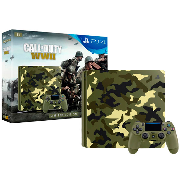 Игровая консоль PlayStation 4 1TB Call of Duty:WW II SE + гарнитура (CUH-2108B) игровая приставка sony playstation 4 1tb call of duty ww ii