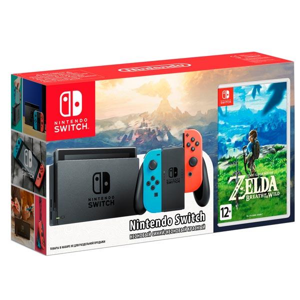 Nintendo, Игровая приставка, Switch (красно-синий)+Legend of Zelda:BotW компл.