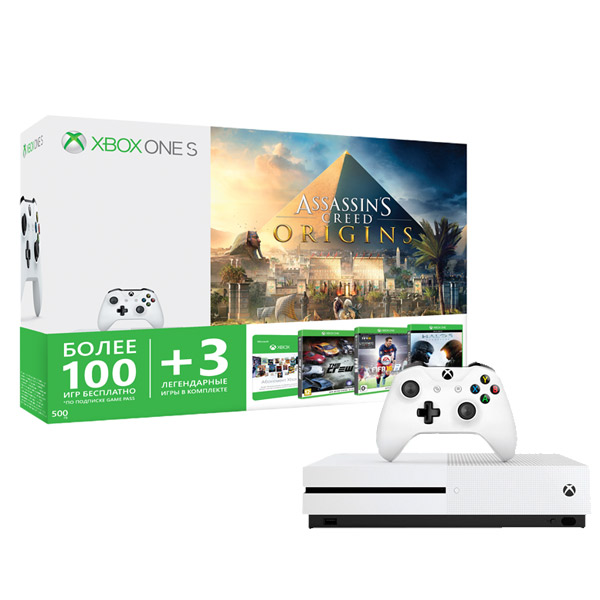 все цены на Игровая консоль Xbox One Microsoft S 500GB+AC Origins+Halo5Guardians+FIFA16+Crew код онлайн